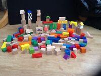 Large collection of Children's Wooden Building Blocks - ELC