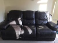 2+3 seater brown leather recliner sofas