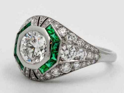 Early 20th Century Old European Cut 1.62CT Cubic Zirconia & Green Emerald Ring