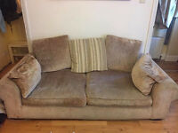 Brown 3 seater sofa with pouffe