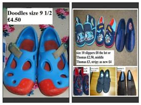 boys shoes size 9 (doodles) slippers size 10 (as new Thomas ones never worn, stripey worn once)