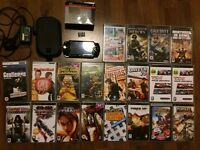 Complete Black PSP (Sony PlayStation Portable) with 18 GAMES, 2 MOVIES/SERIES, charger and case