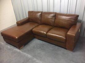 Huntington tan leather corner LH chaise sofa NEW RRP £1299