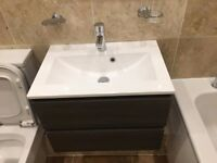 COOKE & LEWIS PAOLO BODEGA GREY VANITY UNIT & BASIN SET