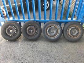 "**4 x 13"" Vauxhall Corsa B C Steel Wheels With Tyres - 4x100**"