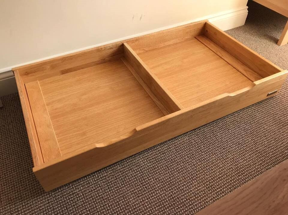 Mamas Papas Solid Wood Heavy Underbed Storage Drawer On Wheels