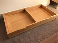 Mamas & Papas solid wood, heavy, underbed storage drawer on wheels - Golden Oak