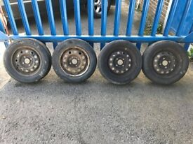 """**4 x 13"""" Ford Ka Steel Wheels With Tyres - 4x108**"""