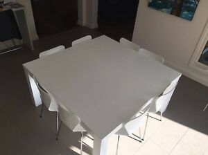 White Square Dining Table AND 8 chairs (IKEA) Balwyn Boroondara Area Preview