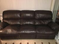 Reclining leather sofa, good condition, reclines on both ends