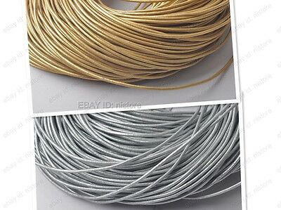 1MM 1.5MM 2MM 3MM gold/silver Genuine round Leather cord Cowhide Thread FREE  ()