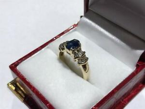 #1403 LADIES HAND ASSEMBLED CUSTOM SAPPHIRE AND DIAMOND RING, SIZE 6 3/4 APPRAISED AT $2,100