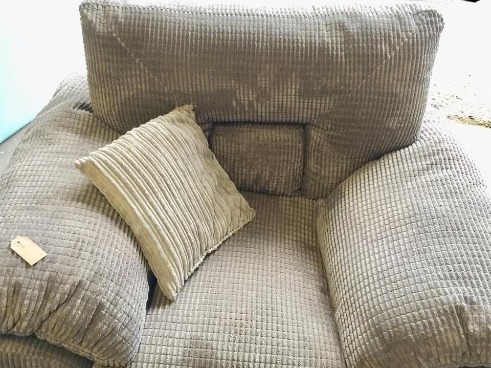 Grey Armchair Patterned New Ex display with cushion Our price £60