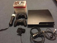 PS3 for sale including MOVE MOTION SONY controller with CAMERA plus 9 GAMES. Great condition.