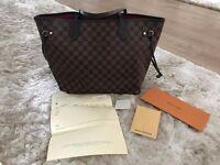 Louis Vuitton New N41357 Neverfull Bag MM Medium New with Receipt Damier Ebene Canvas