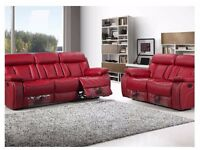 new boxed leather recliner sofa set 3 & 2 limited edition red only for £459 furniture xprs delivery