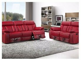 new leather recliner sofa set 3 & 2 seat red color only for £459 furniture