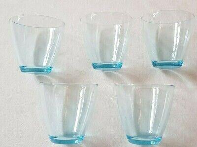 7x Gläser 0.2 0.3 Liter Softdrink Glas Blau Klar Bar  Soft-drink-glas