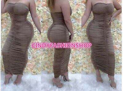 USA Women Sexy Ruched Pencil Strapless Ankle Length Summer Bandage Dresses
