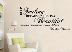Marilyn Monroe Smiling Life Quote Wall Stickers Art Room Removable Decals  DIY Part 77