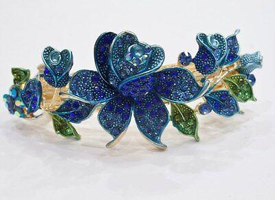 Gold tone rhinestone crystal blue color flower hair barrette clip 14999 mar