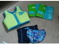 Zoggs Swim Vest, Mothercare Armbands, Boys Speedos and Boys H&M Swim Pants. All to fit Age 2-3.