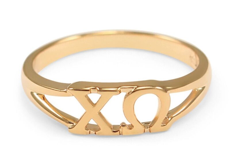 Chi Omega sunshine gold ring with cut-out letters, NEW!!***
