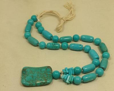 bold look turquoise necklace/round, cyclinder shape beads/18