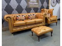 NEW Chesterfield Suite 3 Seater Sofa & Wing Chair & Footstool in Tan Brown Leather - UK Delivery