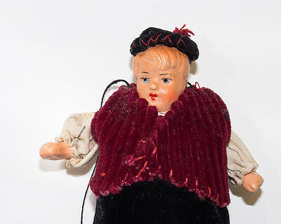 sehr schöne, alte Puppe für Marionettentheater, dicker Koch Junge um 1910