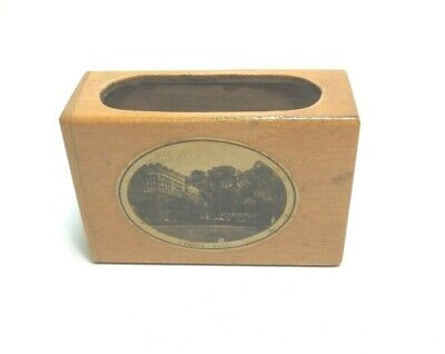ANTIQUE MAUCHLINE WARE WOOD  MATCH BOX CASE HADDON HALL