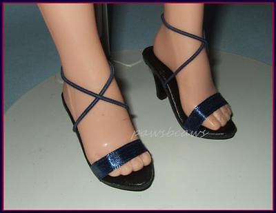 "NAVY Satin Sandals SHOES fit Madame Alexander 21/22"" Portrait SCARLETT O'HARA"