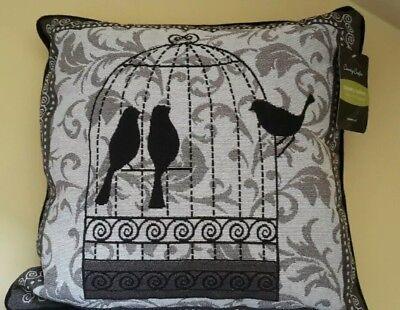 VINTAGE VOGELKÄFIG GEFÜLLTES KISSEN DEKORATIV  SONGBIRD (Dekorative Vogelkäfige)