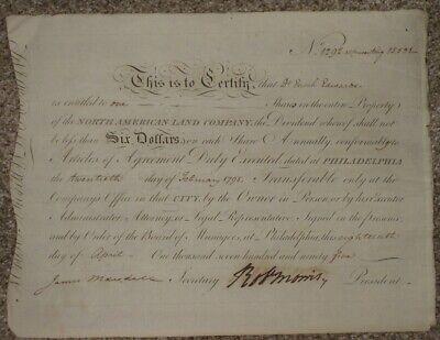 1795, Robert Morris, Declaration Signer, RARE, Land Company Cert., Dr. Edwards