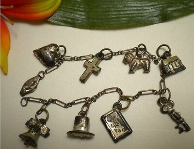 ANTIQUE VICTORIAN VTG STERLING SILVER CHARM BRACELET PUFFY HEART TOP HAT KEY