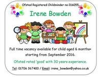 Childminder has vacancies