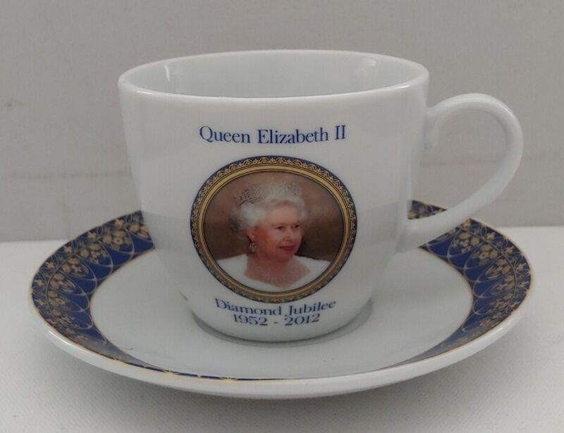 Elgate Products Commemorative Ceramics The Queens Diamond Jubilee Cup and Saucer