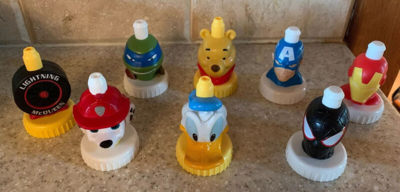 8 Good 2 Grow Collector Spill Proof Bottle Toppers Disney Paw Patrol Marvel