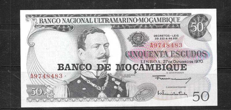 MOZAMBIQUE #116 1976 50 ESCUDOS UNC OVERPRINT  BANKNOTE PAPER MONEY  BILL NOTE