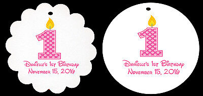 24 Personalized Birthday Pink Polka Dot Candle Scalloped Round Tags Party Favor