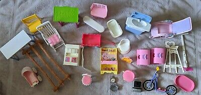 big lot of barbie and friend accessories furniture sink bike & more!! 26 pieces