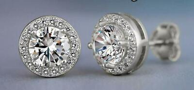 Halo Round Stud Earrings 3.44 CTTW Made with Swarovski Elements