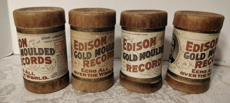EDISON GOLD MOULDED RECORDS LOT of 4 CYLINDERS WITH CASES,  NICE LOT