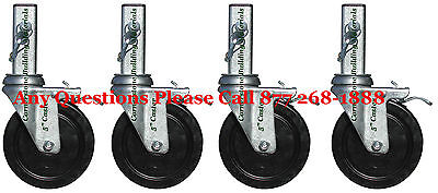 Set 4 Scaffolding 5 Mfs Square Stem Caster Wheels With Locking Pins