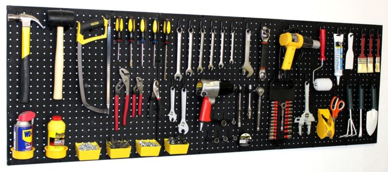"WallPeg 72"" Wide Pegboard Kit & Peg Hooks - Garage Storage, Tools EB24243B"