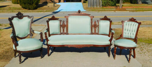 Walnut Victorian Sofa~~Ladies Chair~~Gentlemans Chair Circa 1875