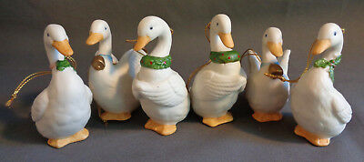 Vintage HOMCO Ceramic Christmas Tree Ornaments 6 Geese a Laying Complete Set!