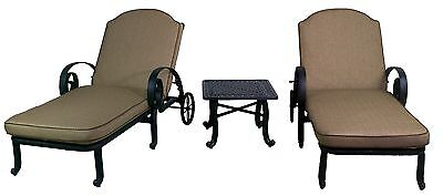 WYNN COLLECTION CHAISE LOUNGE W/ CUSHION & END TABLE 3 PIECE outdoor patio set Collection Chaise Lounge