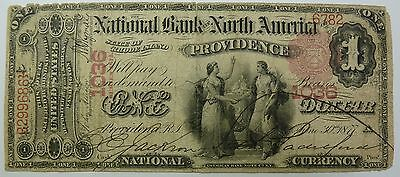 1875 $1 National Bank Providence Rhode Island RI Currency US Item #5822F