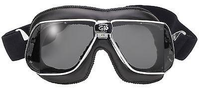 Nannini Custom Black Leather Grey Lens Italian Motorcycle Goggles Hand (Custom Motorcycle Goggles)